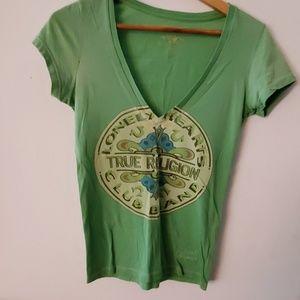 True Religion Green T Shirt V Neck - XS